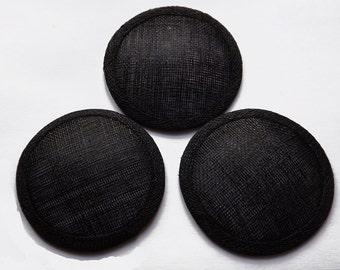 Approximately 13cm diameter sinamay fascinator base - Black - 3 Bases