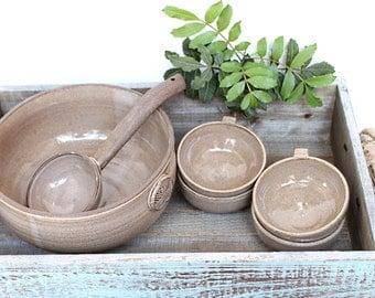 Makgeolli bowl set, pottery punch bowl, handmade punch bowl set, ceramic punch bowl, cocktail serving bowl