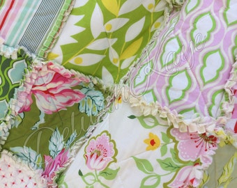 Ready To Ship - Queen Rag Quilt - Nicey Jane - Pink Green Cream Shabby - Handmade Bedding Chic