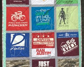 T-shirt Quilt Choose Size Your T-shirts Memory Quilt