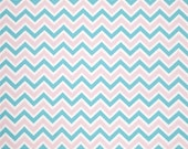 "Two 96"" x 50""  Custom Curtain Panels -  Chevron  Zig Zag Zoom Zoom Pink and Blue / Grey and Blue"
