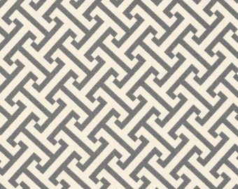 "Two 96""L x 50""W Custom Curtain Panels - Geometric Cross Section Charcoal"