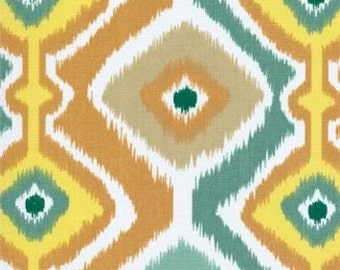 Two 20 x 20  Custom Designer Decorative Pillow Covers  Indoor/Outdoor  - Southwest Ikat Orange/Yellow/White/Teal