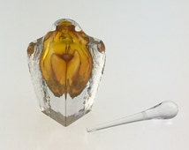 Hand Blown Glass Perfume Bottle - Gold Topaz Cubic  by Jonathan Winfisky