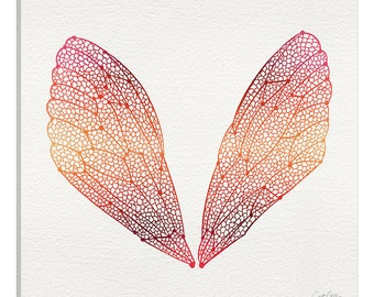 iCanvas Cicada Wings Pink Orange Artprint Gallery Wrapped Canvas Art Print by Cat Coquillette