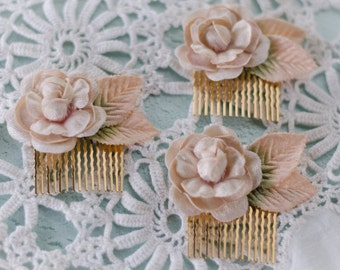 Blush Rose Comb - Velvet Vintage Rose and Leaves on Gold Hair Comb for Bride / Wedding / Prom / Engagement / Bridesmaid