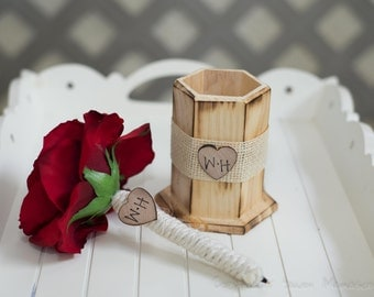 Burlap Guest book pen  with vase select flower showing red rose  with bride and groom initials