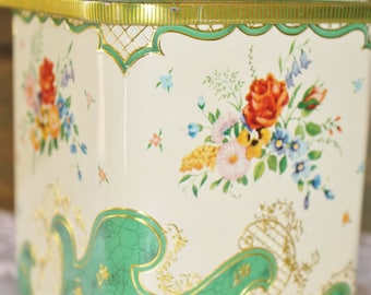 Vintage Tin Metal Floral Embossed Canister Made in Holland