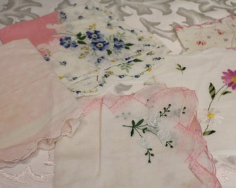 Handkerchief Collection - 5 Frilly Handkerchiefs Pretty in Pink