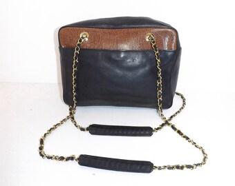 Vintage 1980s excellent quality real dark navy blue black leather and brown lizard skin shoulder bag designer style handbag chain strap