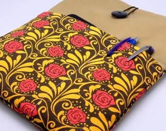 SALE - iPad Air case, iPad cover, iPad sleeve with 2 pockets, PADDED - Red roses (6)