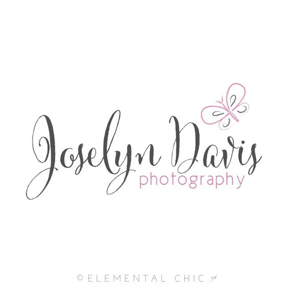Calligraphy Butterfly Logo and Watermark, Premade Customizable Photography Logo Design