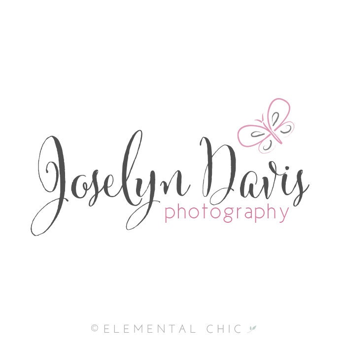 Calligraphy butterfly logo and watermark premade customizable