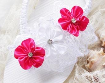 Lace wedding flip flops Hot Pink and White Bridal sandals embellished bridal flip flops, Custom lace wedding shoes, women bridal shoes