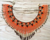 GUERRERA Fringe Necklace / Beaded Necklace / Collar / Statement Necklace / Tribal Jewelry / Guatemalan / Boho / Choker / Neon Orange-Gold