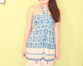Vintage Hippie Indian Cotton Halter Dress with Elephant print