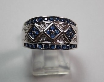 Sapphire and Diamond Cigar Band Ring .76Ctw White Gold 10K 6.8gm Sizable 9