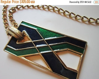 40% OFF Retro Enamel Signed Florenza Pendant necklace RARE and Runway