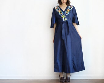 navy embroidered floral bell sleeve cotton maxi dress