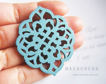 Painting Series - 40 x 50mm Pretty Nile Blue Window Flower Wooden Charm/Pendant MH170 09