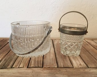 Pair of Vintage Ice Bucket Vintage Glass and Silver
