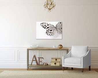 Butterfly Photography Canvas Print- Butterfly Wings Gallery Wrap- Black and White Butterfly Wall Decor- Butterfly Canvas Art, Bathroom Decor
