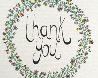 THANK YOU CARD - hand illustrated thank you card