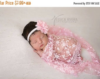 SALE 25% OFF - Lace Fringe Wrap: Pink, Purple or Blue with Chiffon and Lace Flower headband, newborn photo shoots, newborn wrap set, by Lil