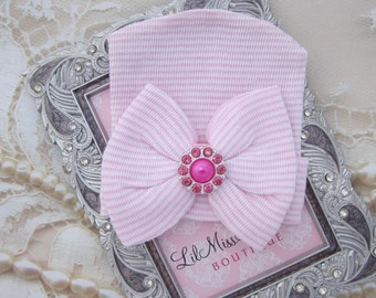 Newborn Hospital Hat, pink and white stripes with a hot pink button attachment, baby hat, from Lil Miss Sweet Pea Boutique