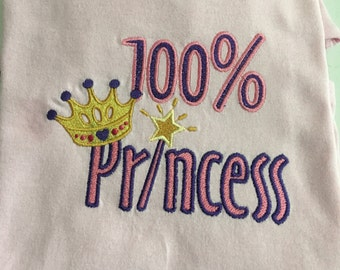 All Princess Embroidered Shirt Personalizing Available