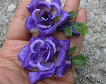 Mini purple rose hair flower, small purple rose, purple rose hair flower