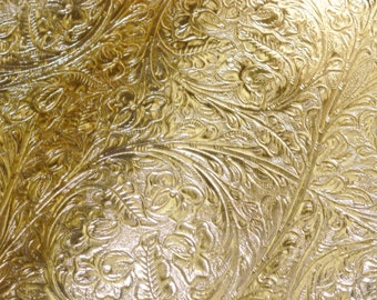 """RESTOCKED Metallic Leather 8""""x10"""" GOLD Foil Western CIRCLE Cowhide 2 oz/0.8 mm PeggySueAlso™ E2812-03"""