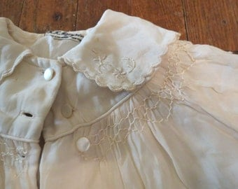 Vintage Baby Coat Embroidered Smocked R.H. Macy & Co. Satin Mother Of Pearl Buttons