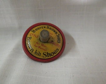 Sale Antique Buster Brown Shoes Toy Top Premium Lithograph Advertising Advertisement