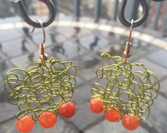 Coral and lime earrings