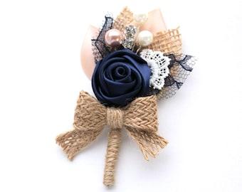 Navy Blush Rosette Burlap Boutonniere/ Country Wedding Lapel Pin/ Handmade Wedding Accessory