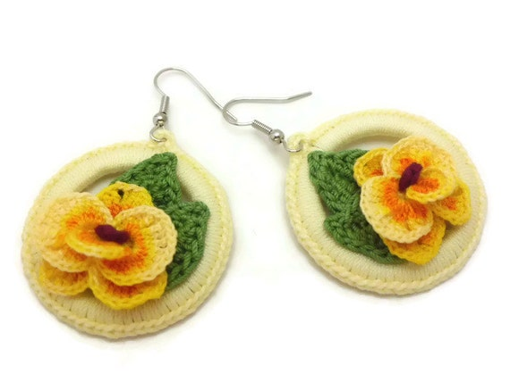 Shabby Chic Crochet Hoop Earrings, Yellow Orchid Earrings, Crochet Jewelry Earrings, Crochet Orchid, Country Chic Jewelry, Gift for Her
