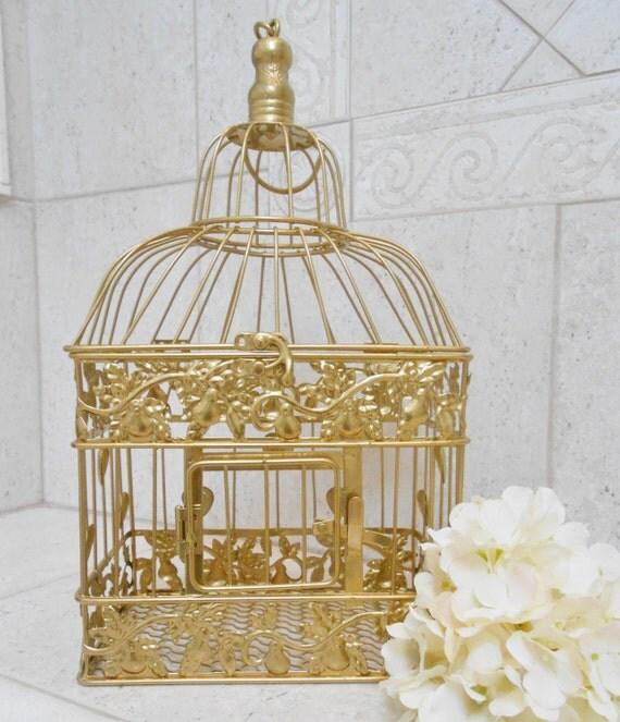 small gold foil wedding birdcage wedding card box wedding