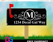30% OFF - Monogrammed Modern Mailbox Vinyl Decal Sticker (Set of 2) - Style 1 - FREE SHIPPING