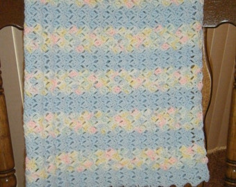 Crocheted blue and variagated baby blanket
