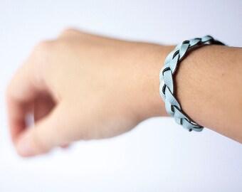 Braided Leather Bracelet / Sky Blue