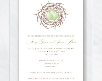 Gender Neutral Nest Eggs Baby Shower Invite, Bird Nest Baby Shower Theme, Printable Baby Bird Invitation, Feather her Nest Invitation