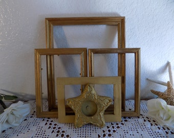 Christmas Holiday Gold Frame Star Set Rustic Shabby Chic Distressed Picture Photo Hollywood Regency Paris French Cottage Home Decor Wedding