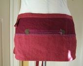 Linen Cafe Apron, magenta and beet red, Half Apron, Zipper Pocket Utility