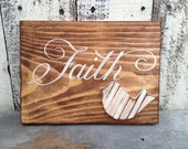 Stained Faith Sign, Wooden Home Decor Faith Sign, Wooden Gallery Wall Signage, Faith Bird Sign