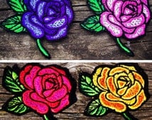 Embroidered Rose Patch red or yellow iron on sew on glue on