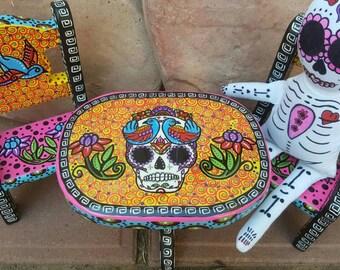 Sugar Skull, mini wood table and chairs, sugar skull doll, Day of the dead, Dia de los Muertos, mini furniture, sugar skull furniture
