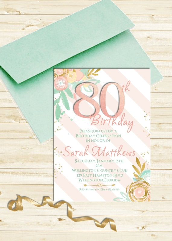 Watercolor Floral 80th Birthday Invitation Any Age Adult Mint Pink and Gold Printable Invite