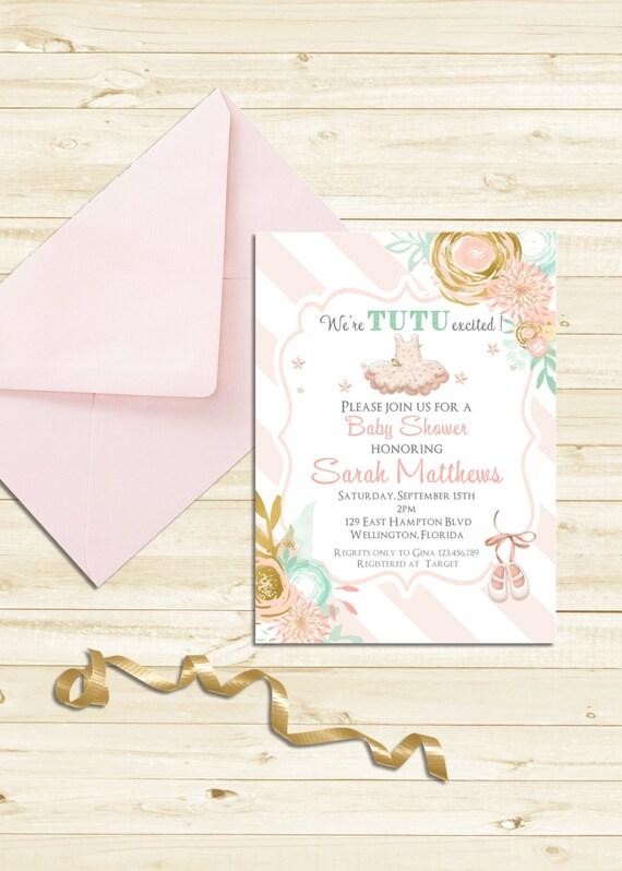Pink Tutu Stripes Baby Shower Invitation - Mint and Gold Ballerina Tutu Cute Pink Printable Invite