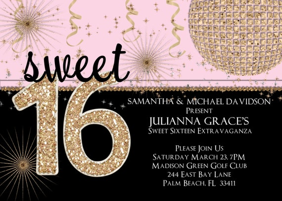 Sweet 16 Birthday Party Invitation - Pink and Gold Glitter Custom Invite Choose Your Color